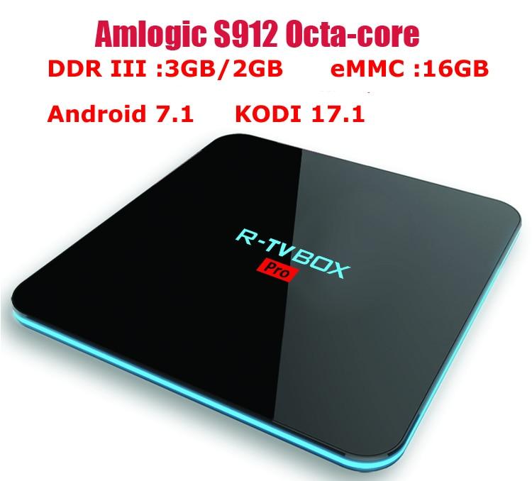 R-TV BOX PRO Amlogic S912 64 bit Octa core 3G/16G 2G/16G Android 7.1 TV Box WiFi BT4.0 2.4G/5.8G H.265 4K Media Player KODI 17.1 himedia q10 hot hi3798cv200 quad core 64 bit android tv box smart tv iptv 3 5 hdd dts ac3 player 2g 16g kodi 2 4 5g wifi bt4