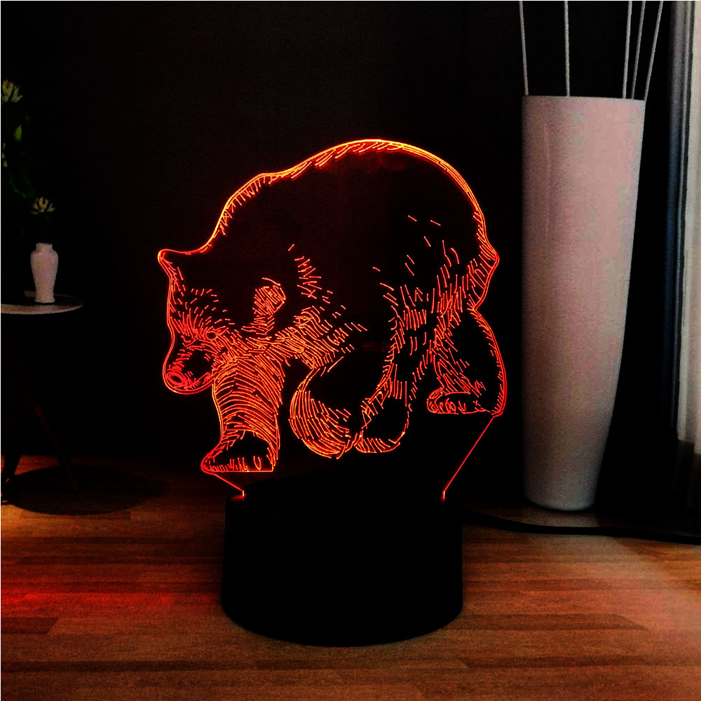 2019Cute Animal Series 3D Wild Boar 7 Color Change LED Novel Decoration Touch Remote Atmosphere Table Lamp Children Holiday Gift