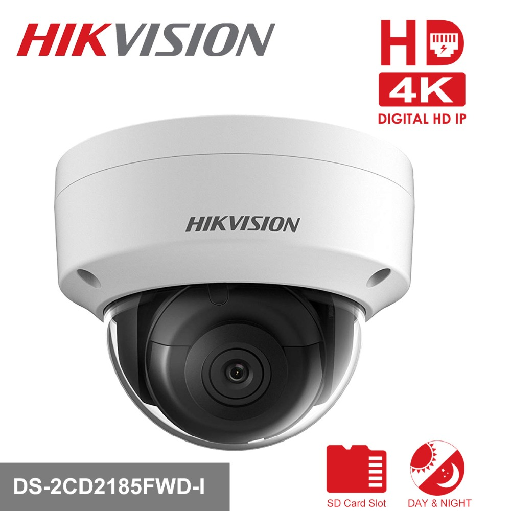 Hikvision DS-2CD2185FWD-I 8MP Network mini dome security CCTV Camera POE SD card 30m IR H.265+ IP camera hikvision original international h 265 8mp mini outdoor ip camera ds 2cd2085fwd i 4k bullet cctv camera poe onvif ip67 ir 30m