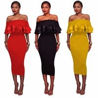 Ruffles Women Summer Vintage Dress 2017 Sexy Off Shoulder Party Black Dresses Plus Size Bodycon Vestidos
