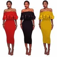 Ruffles Women Summer Vintage Dress 2018 Sexy Off Shoulder Party Black Dresses Plus Size Bodycon Vestidos