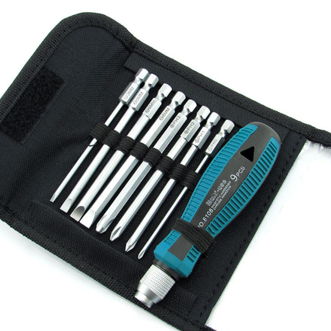 High 9pcs/set Precision Screwdriver Set 9 IN 1 Screwdrivers Kit Bag 8 Insert Bits+1pcs Rubber Handle Top Quality
