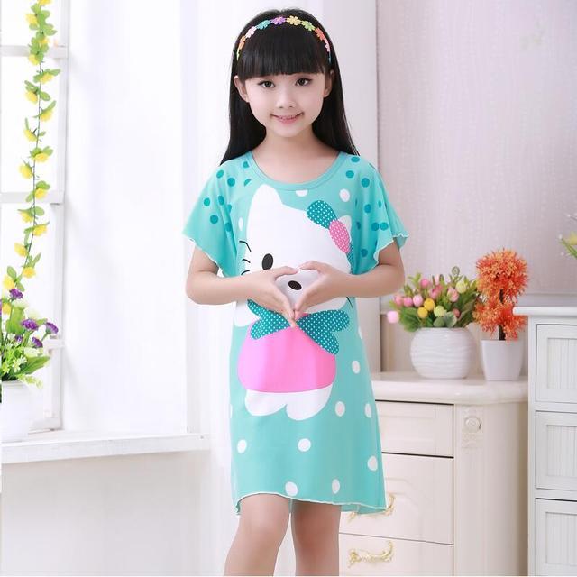 Us 6 28 17 Off Summer Night Dresses 2018 New Girls Bat Short Sleeve Nightgown Cartoon Children Sleepwear Shorts Kids Casual Princess Dress Rt60 In