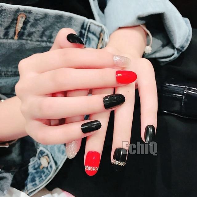 Fashion Clear False Nails Classic Black Red Oval Top Fake Nail ...