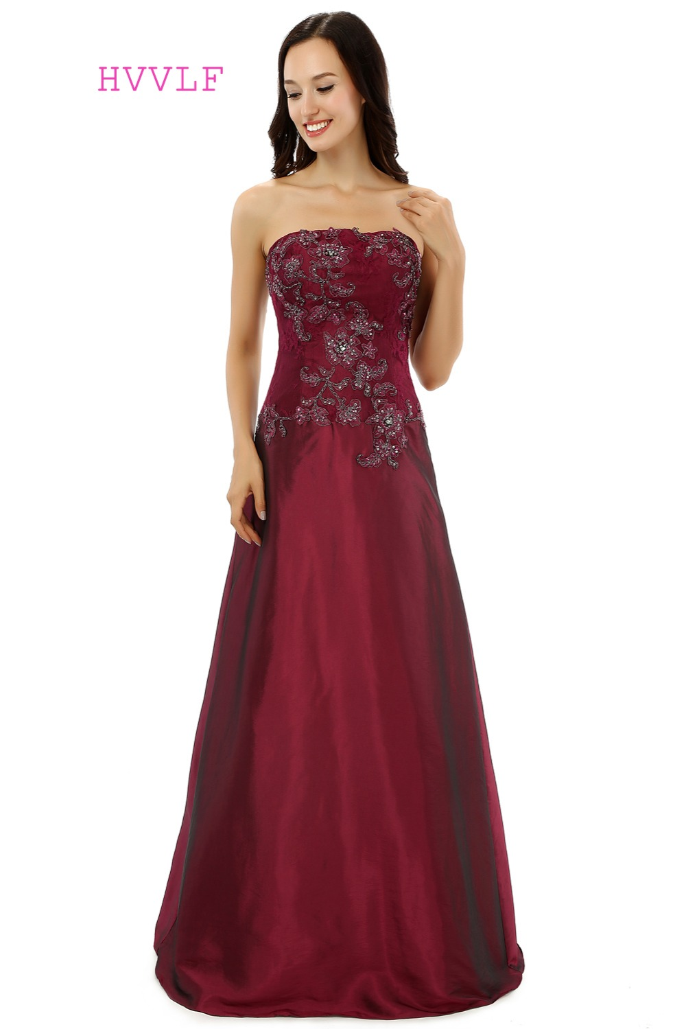 Burgundy 2019 Mother Of The Bride Dresses A-line Strapless Taffeta Lace Beaded Formal Groom Long Mother Dresses For Wedding