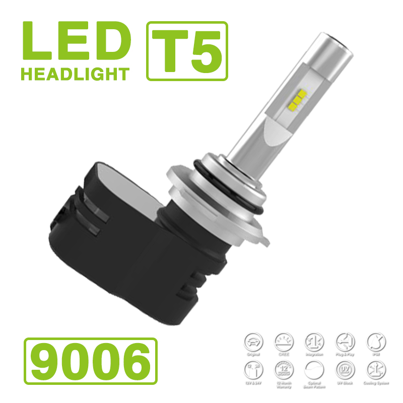 2017 9006 HB4 Turbine <font><b>T5</b></font> LED Scheinwerfer Super Slim Conversion <font><b>Kit</b></font> 60 Watt 9600LM CSP Y19 Chips All-in-one Pure White 6000 Karat <font><b>Turbo</b></font> Fan image
