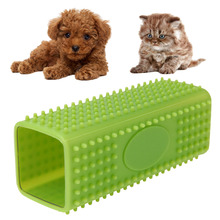 Dogs Fur Bath Brush Comb Soft Silicone Grooming Pet Hair Removing Tool Green Pet Goods Supplies Accessories Green Cuboid