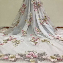 2018 Top Quality 3D Flower Embroidered African lace fabric For Bridal Dress With Rhinestones French Mesh Lace Fabric HX1051-2 flower embroidered mesh shoulder top