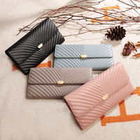 MiiKLN Ladies Wallet Large Capacity Leather Zipper Two Fold Long Hand Bag Wrapper Female