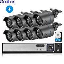 Gadinan 8CH 5MP POE NVR Audio 3MP 1080P Bullet PoE IP Camera CCTV Camera System Set Waterproof Outdoor Night Vision Kit XMEye