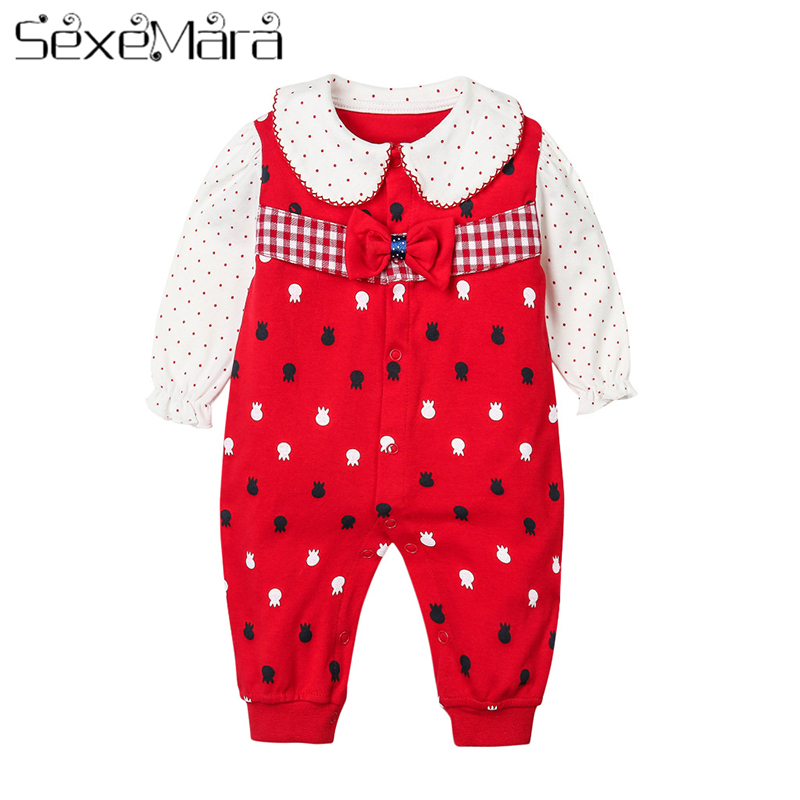 Baby Girl Onesies Spring And Winter Bowknot Childrens Clothing Korean Version Baby Romper For 0-2Years Toddler Child SexeMara