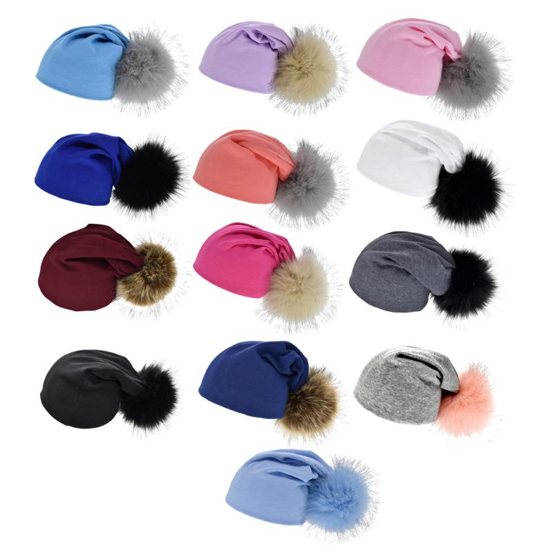 1pc Baby Cotton Hat Girls Boys 1-4years Hat Kids Big Pom Pom Hat For Children Warm Bonnet Autumn Winter Cap Baby Hat
