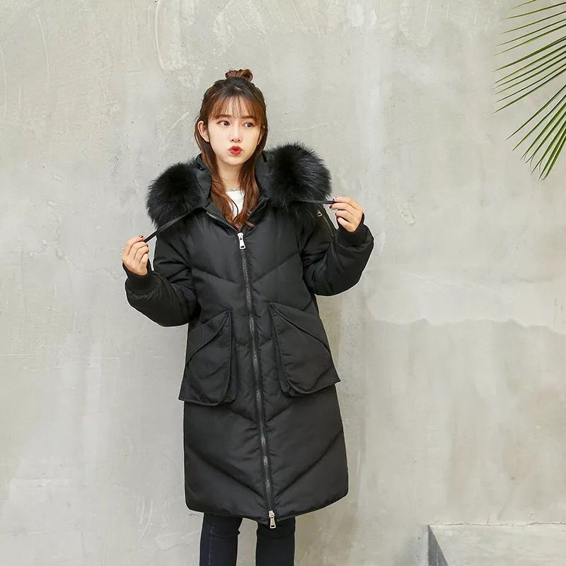 Fashion hundred-ride   down   jacket 2019 new Medium-length Winter thicken jacket fur collar hooded   coat