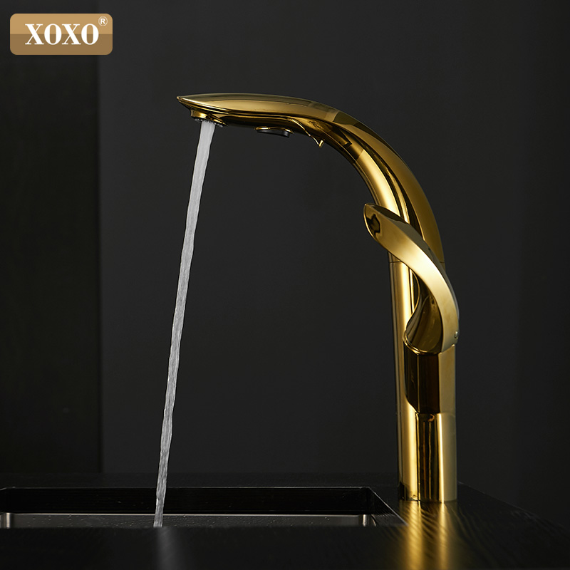 XOXO Kitchen Faucet Pull Out Gold Hot And Cold Kitchen Tap Single Hole Handle Swivel 360 Degree Water Mixer Tap Mixer Tap 23021