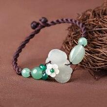 Original ethnic style simple ornaments Yu Xiu Lin Dongling jade bluestone hand rope vintage braided bracelet