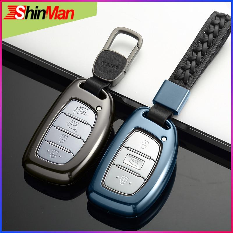 Étui pour clé de voiture en alliage ShinMan pour Hyundai ix25 ix35 i20 i30 i40 hb20 Elantra Verna Sonata9 accessoires Solaris Santa Fe crète