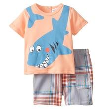 Mon Shark Pet Super coton bébé été garçons Set ( 1 garçons t-shirt + 1 pantalons courts )