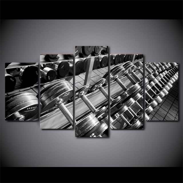 Hot Sale 5 Piece Canvas Art Dumbbells Fitness Poster Gym Equipment
