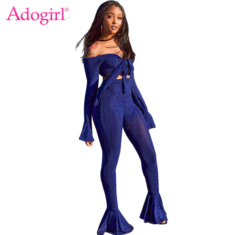 Adogirl Shining Silver Wire Two Piece Set Tie Bow Off Shoulder Long Bell  Sleeve Crop Top Skinny Flare Pants High Stretchy Outfit-in Women s Sets  from ... 14d95c006a24