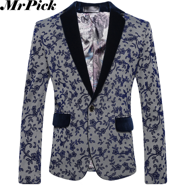 2016 homens primavera Floral Blazers moda Casual Masculino Blazers flor T0006