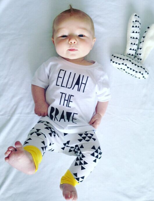 Baby boy clothes sets Newborn infant casual T-shirt + pants outfits Ins baby 2Pcs/Set ELIJAH THE BRAVE Printed Roupa de bebe