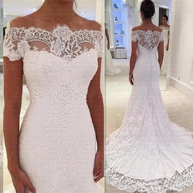 Vestido De Noiva 2020 Luxury Full Lace Mermaid Wedding Dresses Sheer Off Shoulder Bridal Gowns Plus Size Robe De Mariee