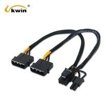 Vkwin duplo ide molex 4pin para pci-e 8pin (6 + 2pin) cabo adaptador de alimentação molex macho para macho cabo de cartão gráfico cabo interno