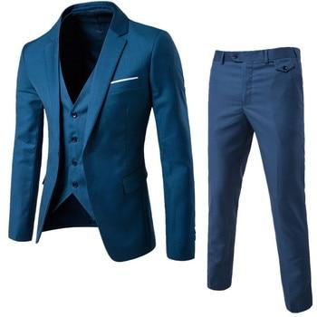 (Jaqueta + calça + colete) Homens de luxo terno de casamento masculino Blazers Slim Fit ternos para homens traje de negócios formal festa azul clássico preto 1