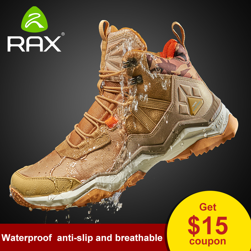 RAX Men's Waterproof Cushioning Antislip Hiking Shoes Climbing Trekking Mountaineering Shoes For Men Outdoor Multi-terrian Shoes