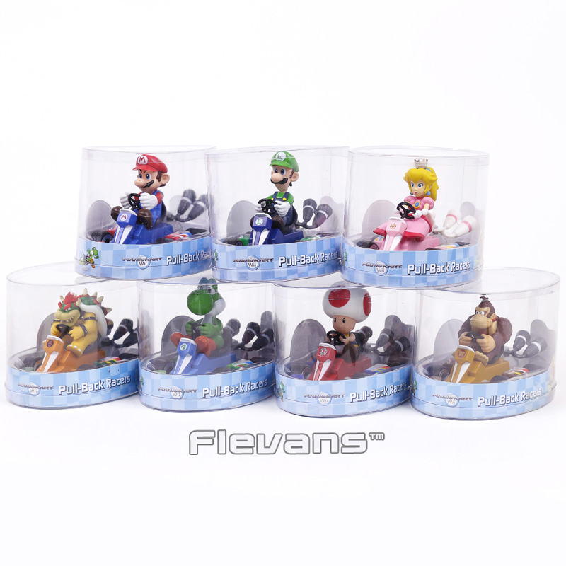 Super Mario Brothers Mario Luiji Peach Bowser Toad Donkey Kong Yoshi Pull Back Racers Cars PVC