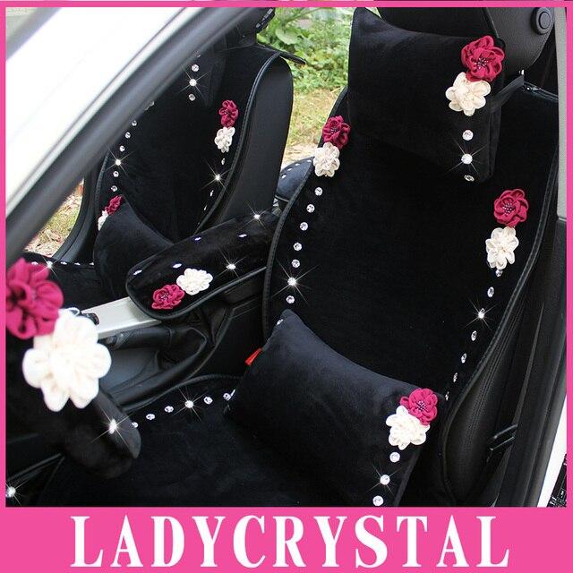 Ladycrystal Velvet Car Headrest Neck Waist Pillows Elegant Diamond Flowers Pillows Auto Car Styling Interior Decor Accessories