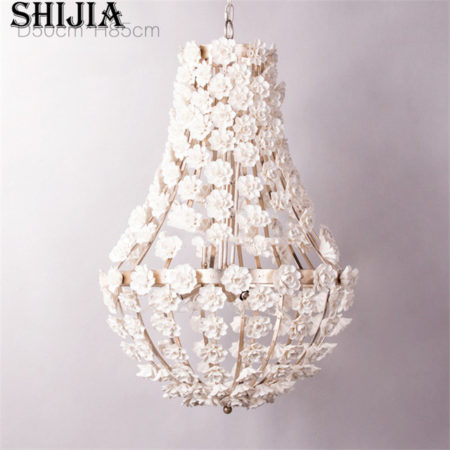 Amerikanischen Kronleuchter Lighitng Eisen Blume Anhänger Lampen Land  Beleuchtung Prinzessin Für Mädchen Schlafzimmer Wohnzimmer Licht