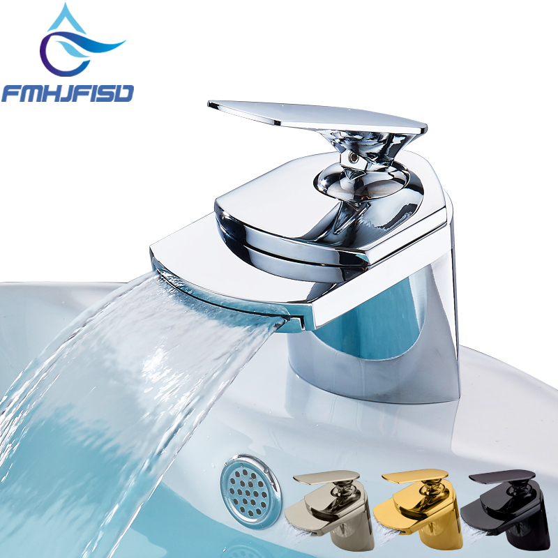 Bathrooom Waterfall Basin Faucet Single Handle Mixer Waterfall Spout Taps with Pop Up Drain
