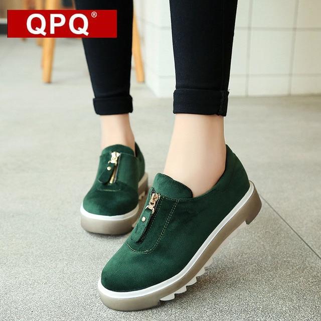 6e71702f8325d QPQ Nuevo 2017 Moda Cómodo Suede Flats Mujeres Entrenadores Mujeres Zapatos  Casuales Zapatos Para Caminar Al