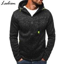 LeeLion 2017 Autumn Winter Hoodies Men Fleece Thicken Sweatshirts Zipper Cardigan Cotton Sportswear Slim Solid Tracksuit Jacket