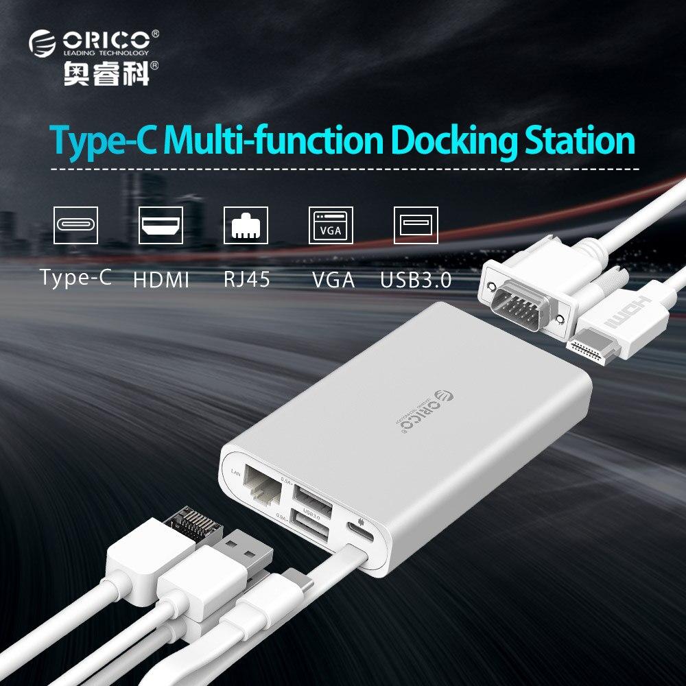 ORICO Type-C Docking Station for MACbook Apple USB-C to HDMI 4K VGA Port HUB RJ45 Network Converter orico aluminum cylinder type c universal docking station eu plug power adapter with 6 usb3 0 a