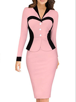 Plus Size Women One Piece Outfits Long Sleeve V Neck Knee Length Business Dress White Striped Elegant Office Formal Work Suit