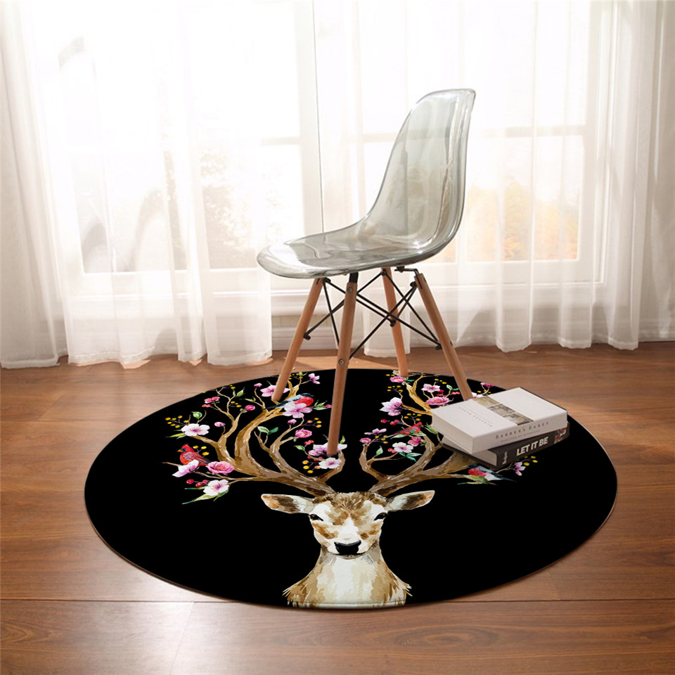 BeddingOutlet Floral Elk Deer Round Carpets Flowers Chair Area Rug Animal Birds Living Room Floor Mat for Bedroom Kids Play Mat