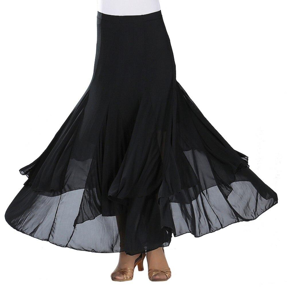 Fashion Modern Dance Skirt Sequins Flowers Skirts Tango Ballroom Waltz Dance Skirt For Women Lady Adult Party Half-length Skirt