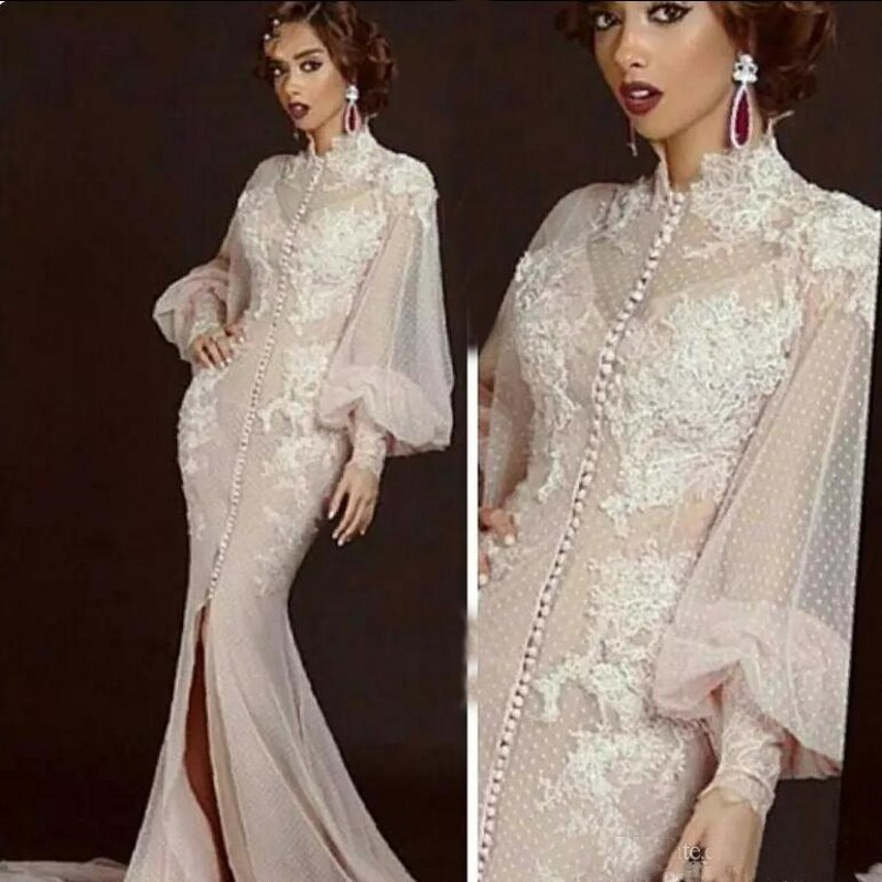 Ivory Muslim Evening Dresses 2018 Mermaid Long Sleeves Tulle Lace Slit Formal Dress Dubai Saudi Arabic Long Elegant Evening Gown