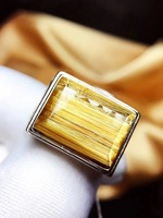 Adjustable Size 16x11x5mm Natural Gold Rutilated Quartz Ring For Woman Man 925 Silver Sterling Metal Crystal Rings AAAAA