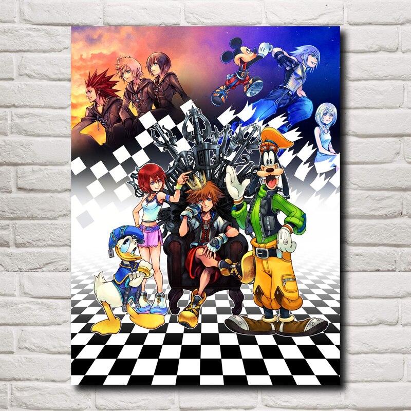 Kingdom Hearts Juegos de Video Arte Tela Impresiones Del Cartel Casa Decoración