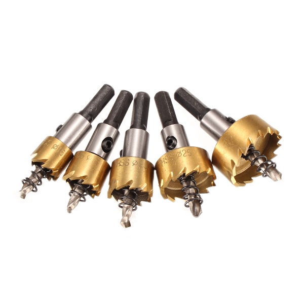 5pcs/set Drill Bit HSS 6542 Titanium Coated Hole Saw Tooth HSS Hole Saw Cutter 16/18.5/20/25/30mm Top Quality 3pcs lot hss steel large step cone titanium coated metal drill bit cut tool set hole cutter 4 12 20 32mm wholesale