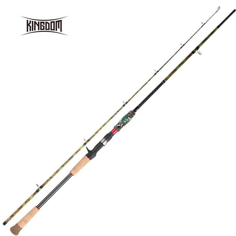 Kingdom Black Cut Carton Spinning Casting Fishing Rod MH, H Power Lure Weight 10-45g Fishing Rods 2.28m 2 SectionTravel Rods pro mark promark h rods hot rods