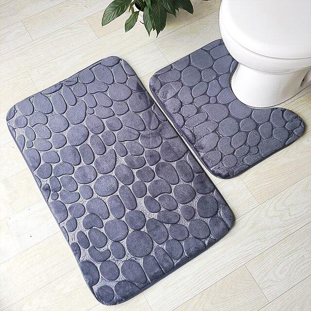 Zeegle 3D Stone Memory Foam 2pcs Bath Mats Set Anti-slip Floor Mats Bathroom Toilet Rugs Absorbent Bathroom Matrresses 2 pieces