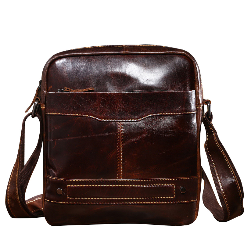 ФОТО New Patchwork Oil Wax Genuine Leather Shoulder Bag For Men Business Brief Style Men's Messenger Fashion Crossbody Tote Bag CH082
