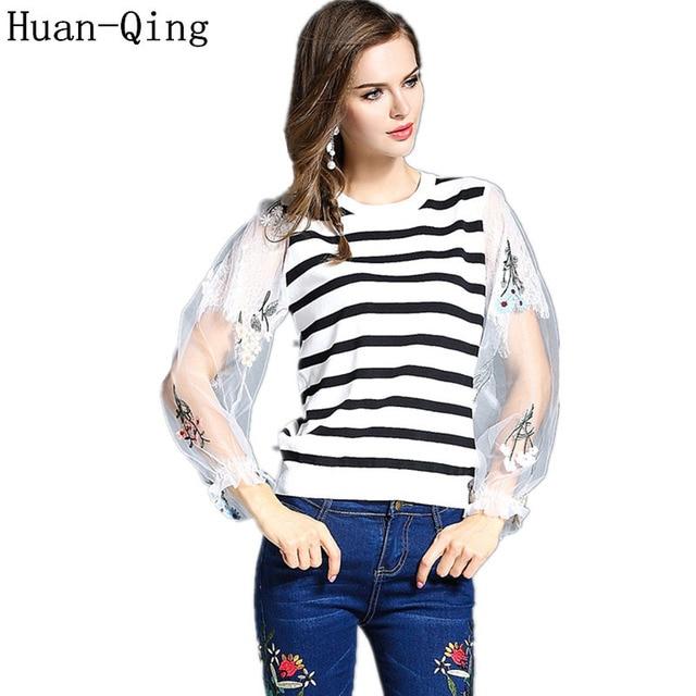 8955b07ac61 Huan-Qing 2017 Vrouwen Vintage Mesh Borduren Gestreepte Lange Mouw Designer  Truien Fashion Zwart Wit