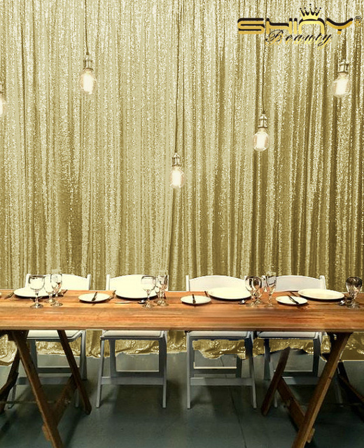 9ft X Light Gold SEQUIN PHOTO BACKDROPChampague Sequin Curtains Ceremony Background