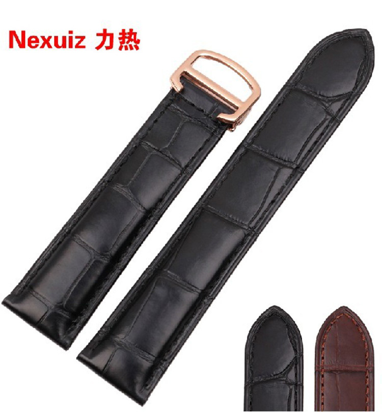 Watchband alligator Leather Black Bracelet 18mm 20mm 22mm Strap stainless steel deployment  Folding Buckle for brand watches alligator leather watchband brand style straps bracelets wristwatches accessories with free buckle deployment 20mm 21mm 22mm new