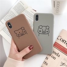Funny cartoon pig phone case For iphone XS MAX XR X lovely TPU 6 6s 7 8plus cute soft shell silicone cover
